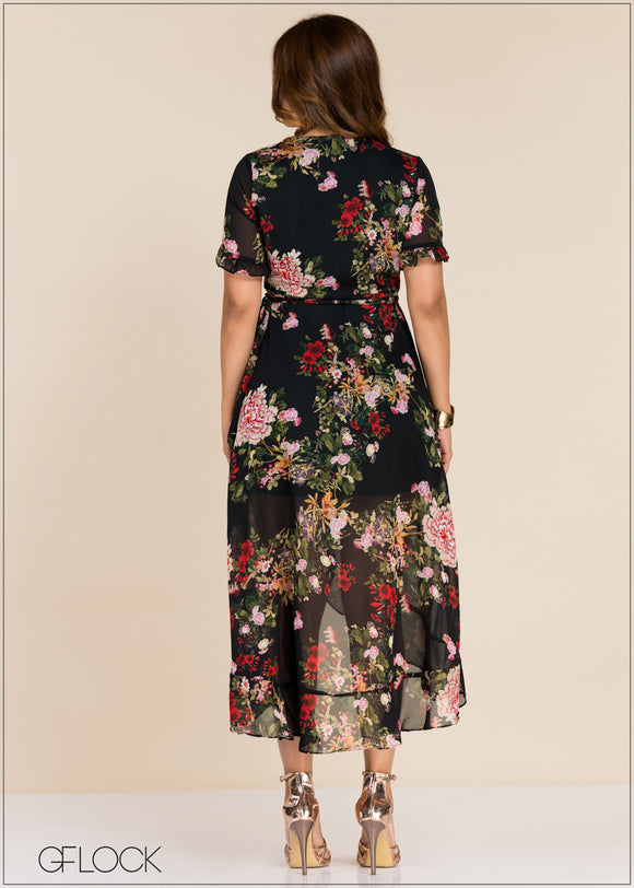 Frill Sleeve Printed Dress - GFLOCK.LK