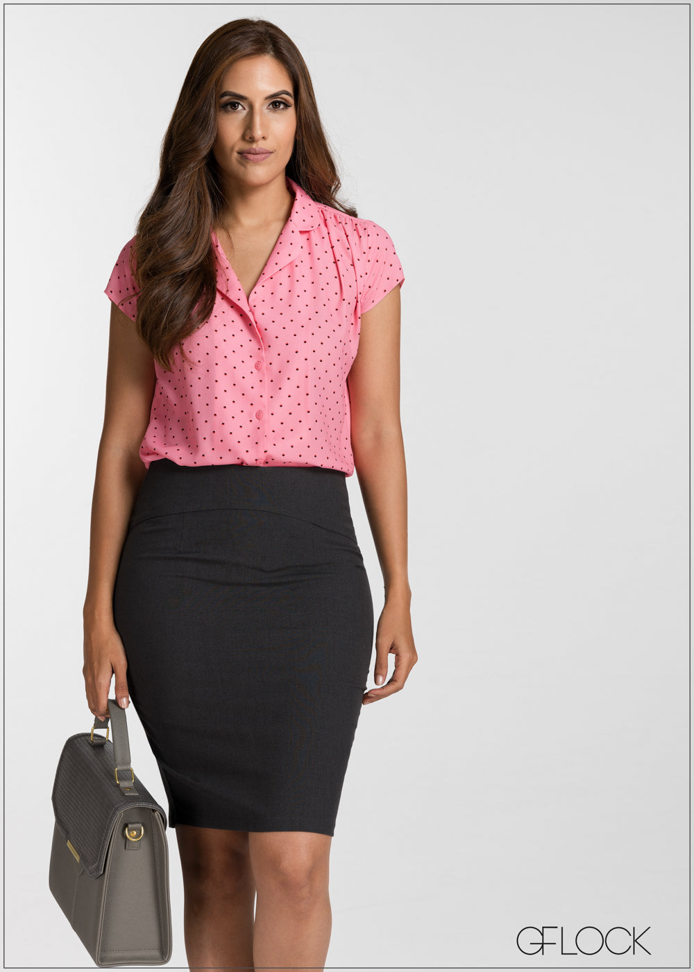 Dot Printed Short Sleeve Buttoned Top