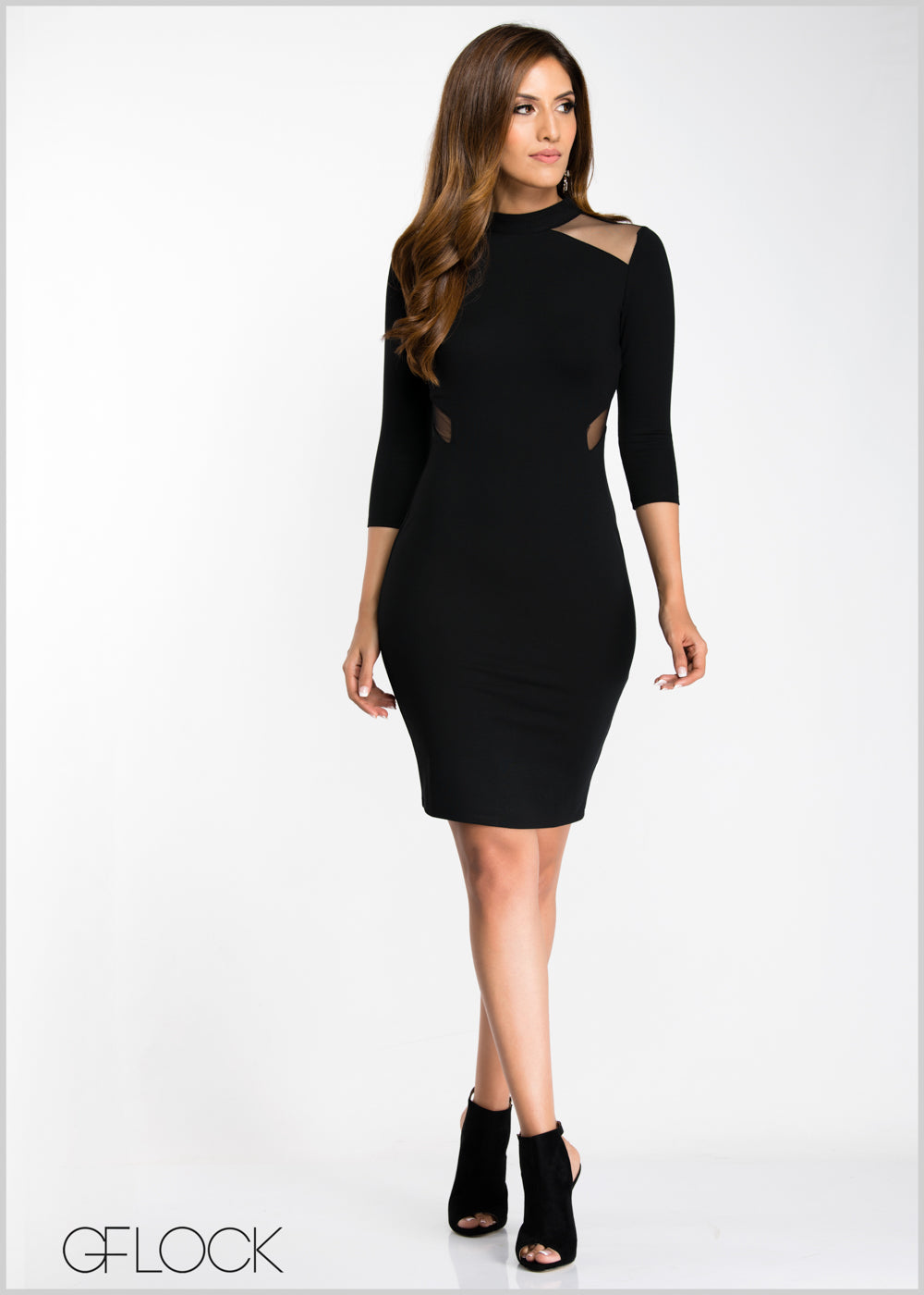 Mesh Insert Body-Con Dress