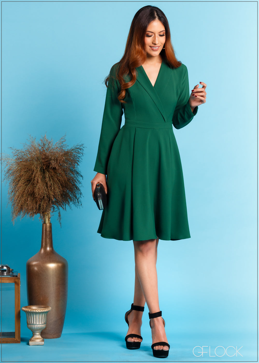 Lapel Collared Dress with Long Sleeves - Eve 312