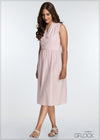Wrap Bow Linen Dress - GFLOCK.LK