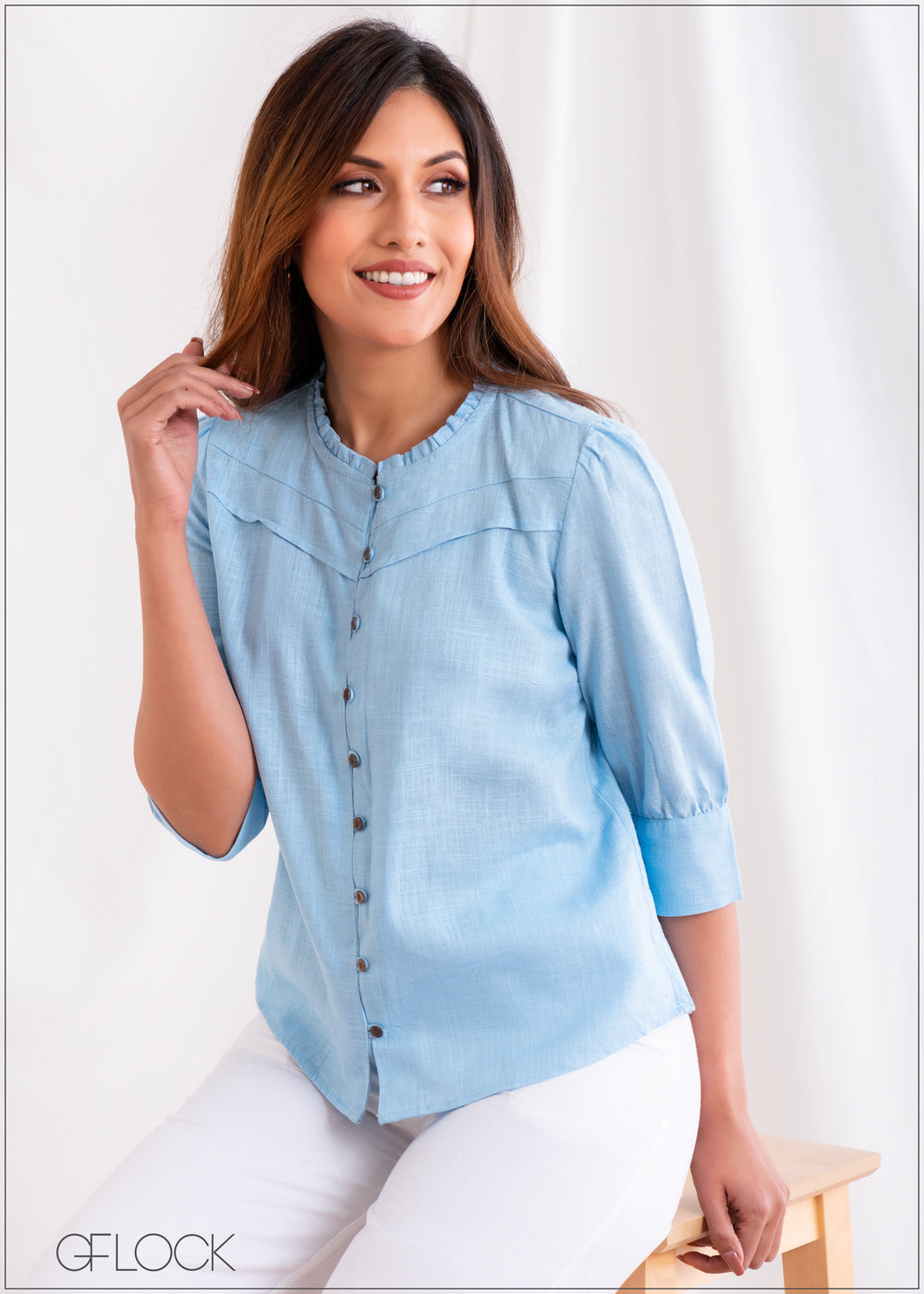 Linen Top with Puff Sleeves - Linen 2501