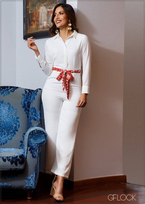 Jumpsuit With Printed Waist Tie