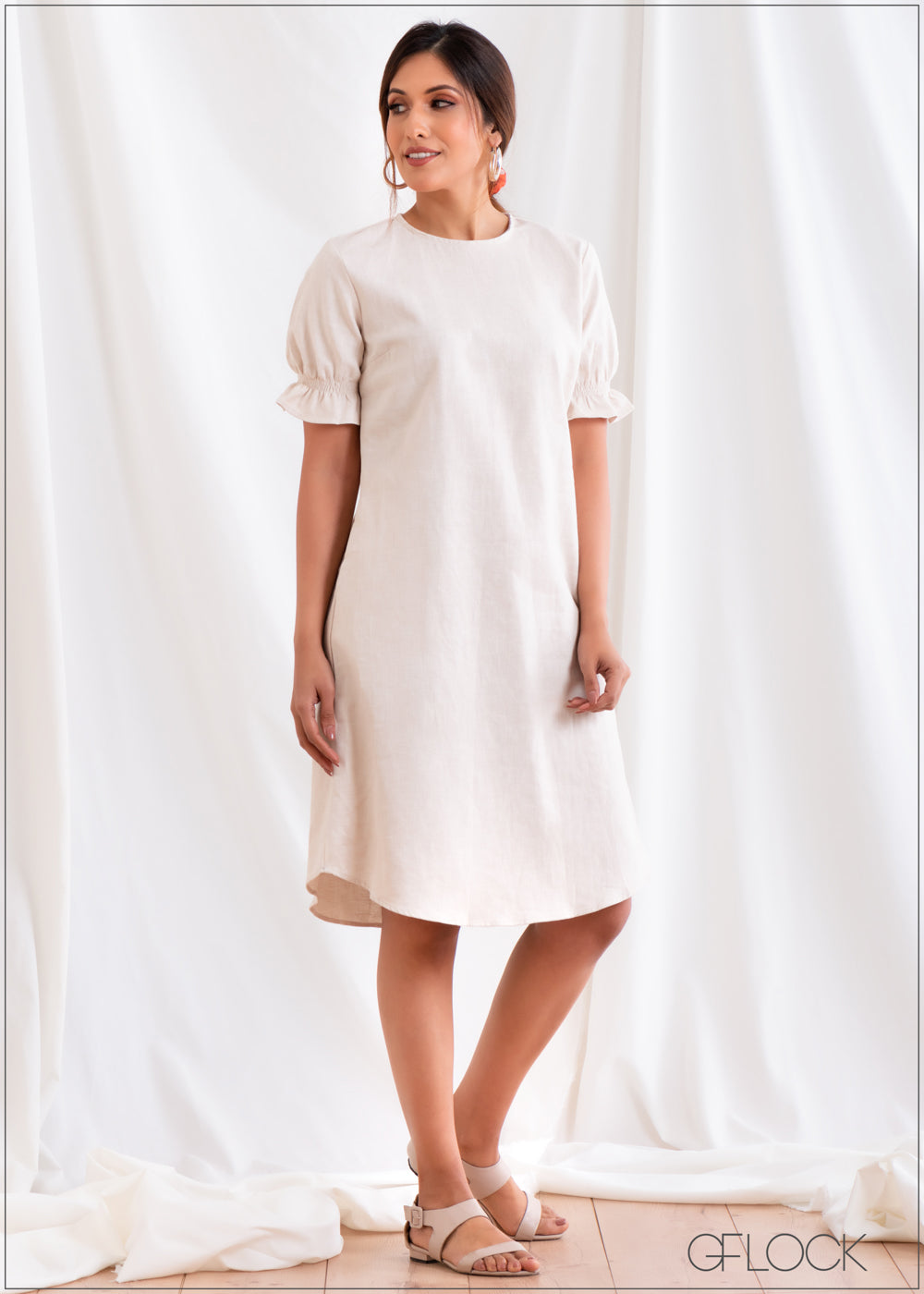 Puff Sleeved Dress - Linen 2501