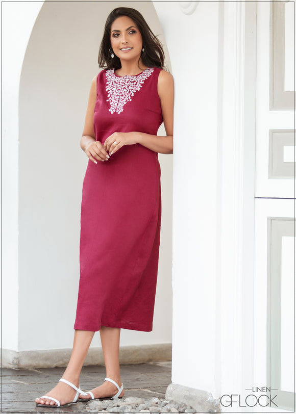 Embroidery Detailed Dress - Linen 1612