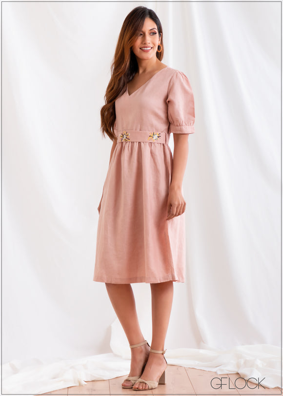 Dress with Embroidered Belt - Linen 2501