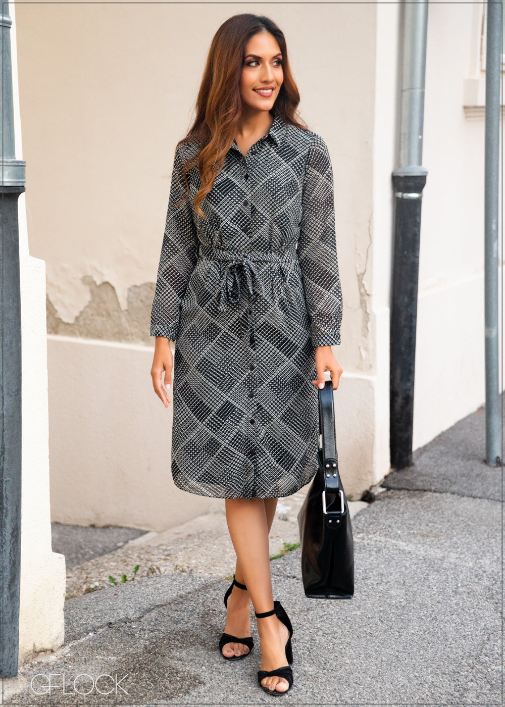 Long Sleeved Printed Dress