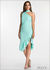 Hem Frill Detail Evening Dress