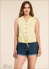 Sleeveless Tie Up Linen Top - GFLOCK.LK