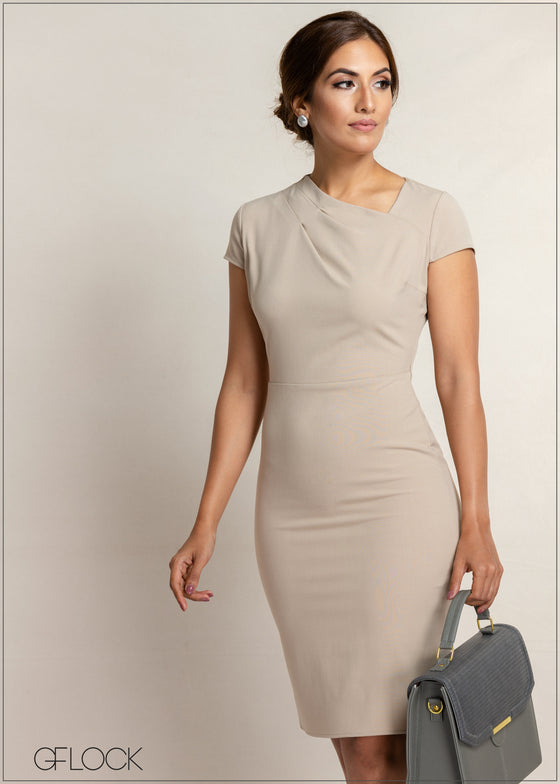 Side Neck Pleat Workwear Dress