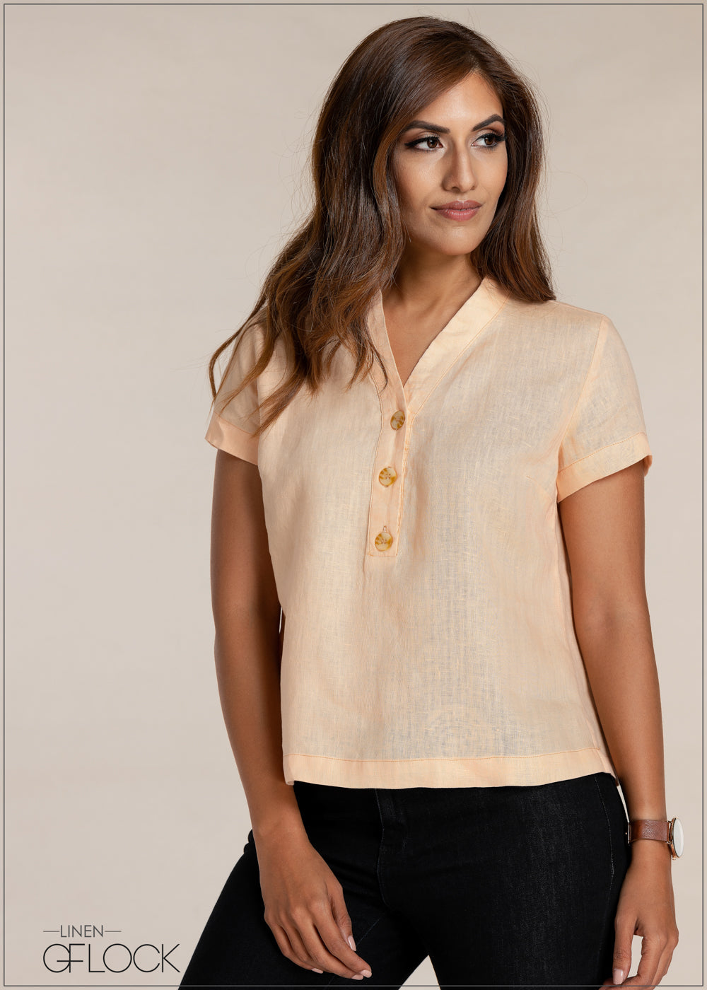 Button Detailed Linen Top
