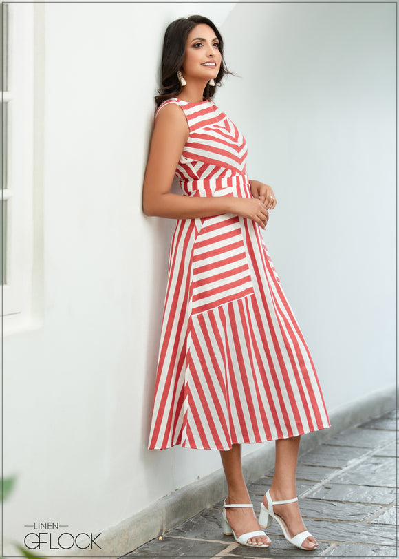Striped Dress - Linen 1612