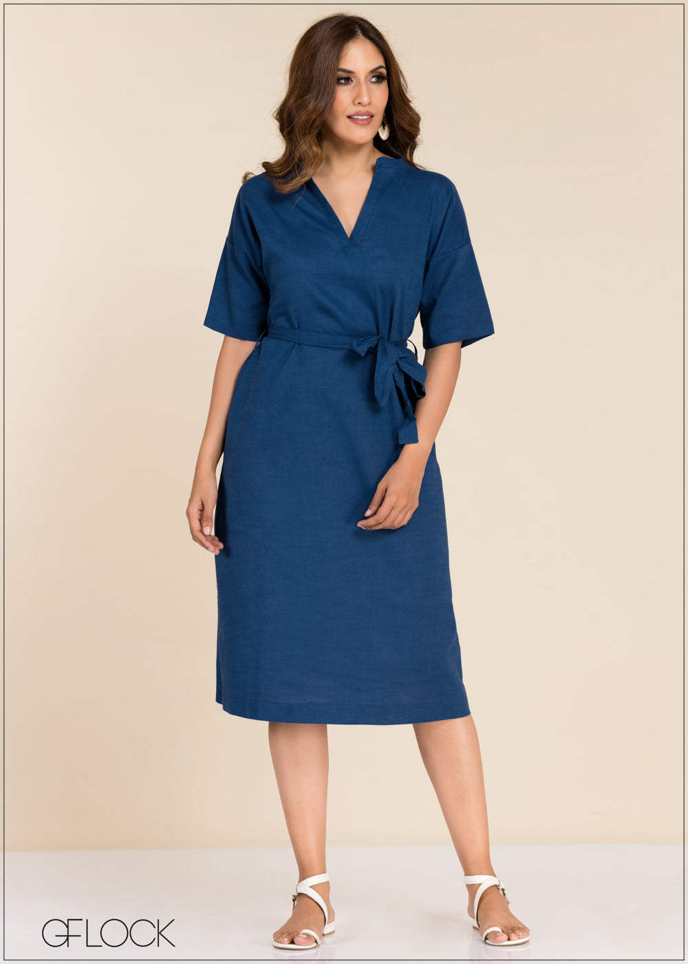V Neck Tie Up Dress - GFLOCK.LK