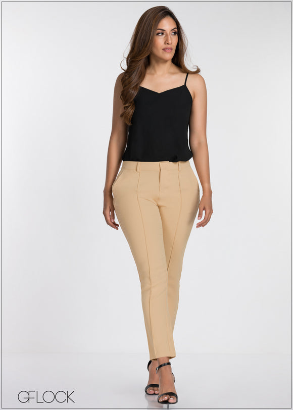 Front Seam Detail Tailored Pant