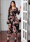 Lapel Collared Printed Jumpsuit- Eve 1801