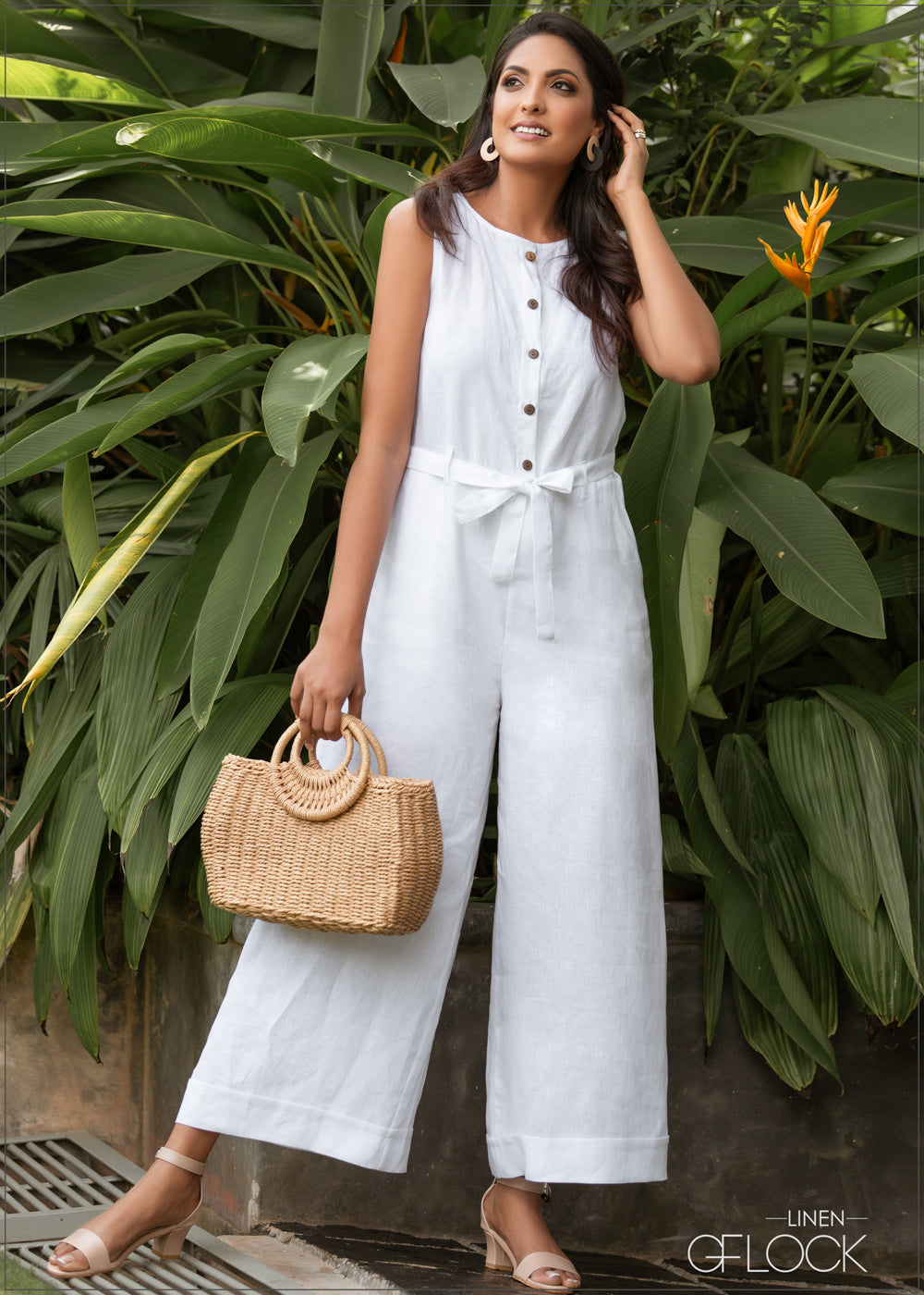 Tie Up Jumpsuit - Linen 1612