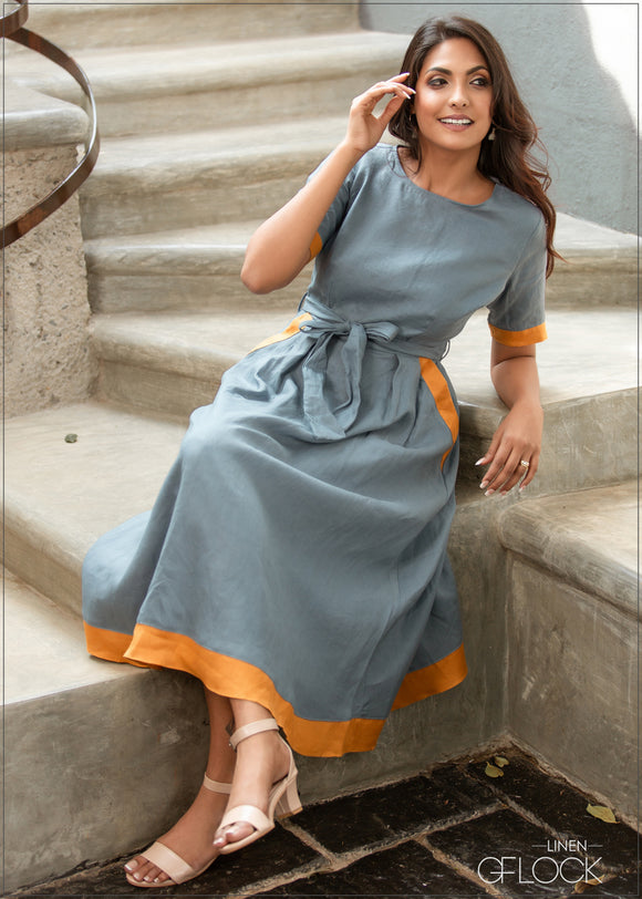 Contrast Border Dress - Linen 1612