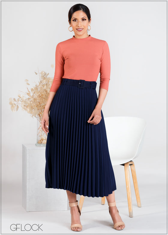 Pleated Skirt with Buckle - WW263