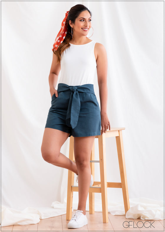 Linen Short with Waist Tie - Linen 2501