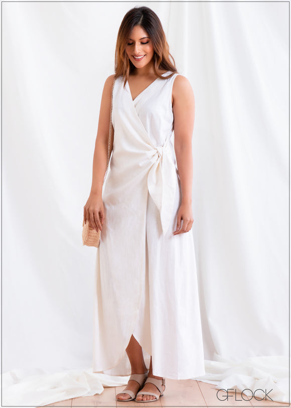 Front Knotted Dress - Linen 2501