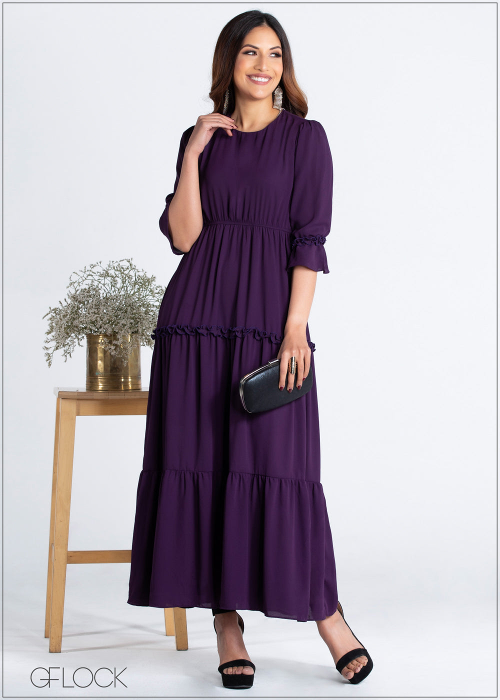 Maxi Dress with Ruffle Detail - 359