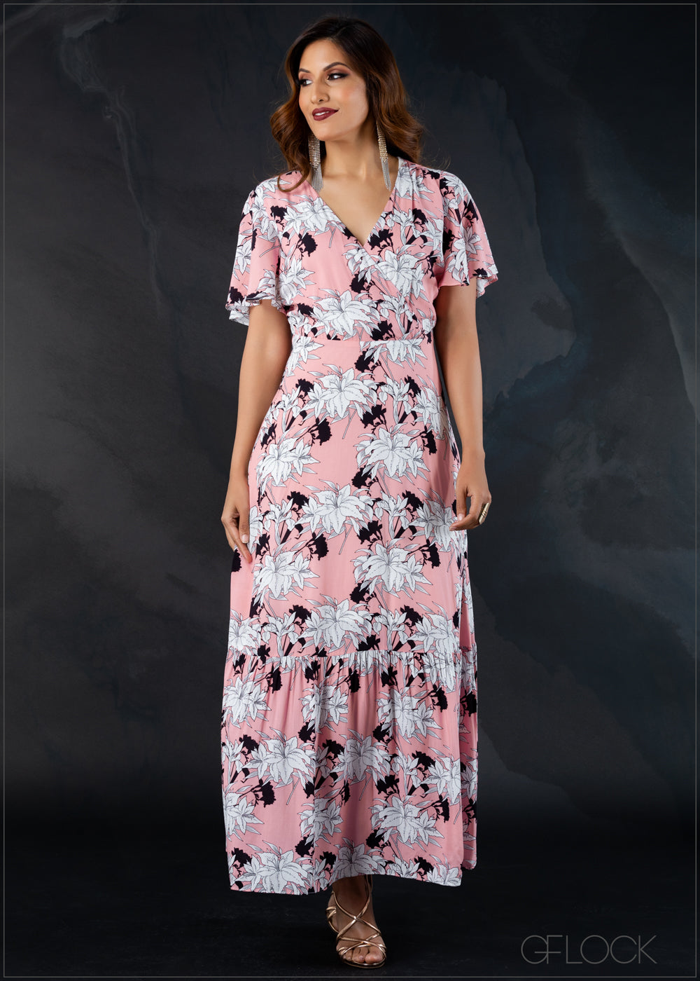 Printed Front Overlap Dress - Eve 1212