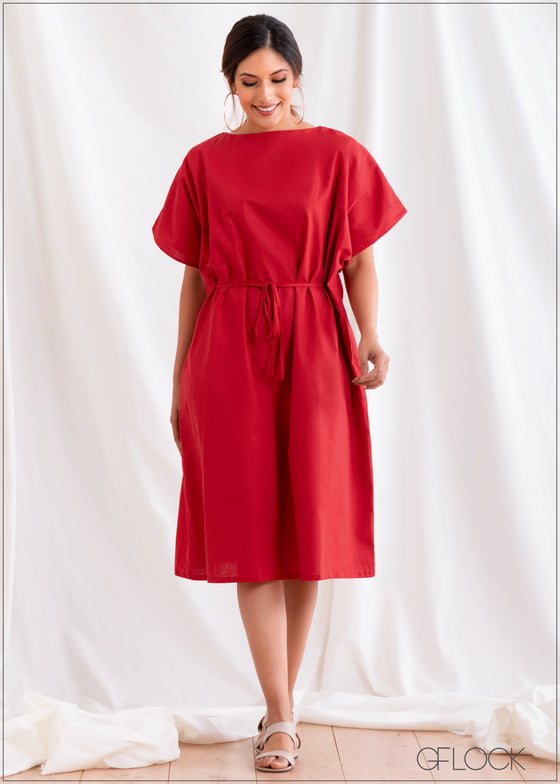 Kimono Dress with Drawcord - Linen 2501