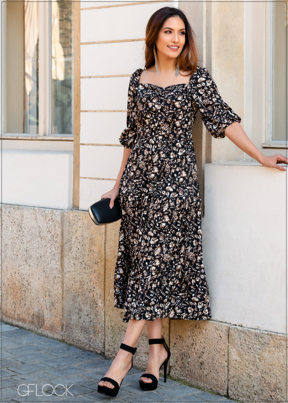 Printed Dress with Puff Sleeves - 353