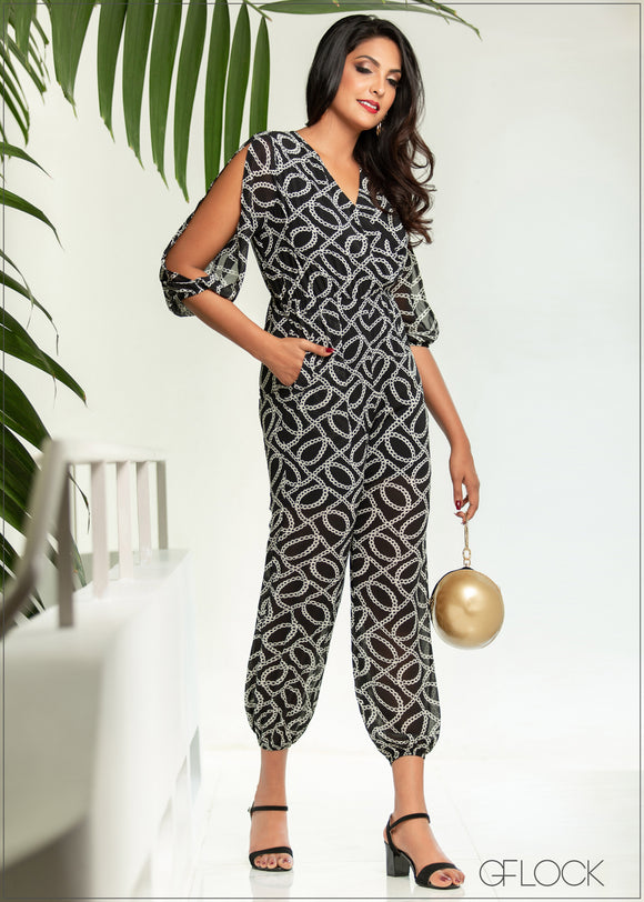 Printed Jumpsuit With Sleeve Detail - Eve 1912