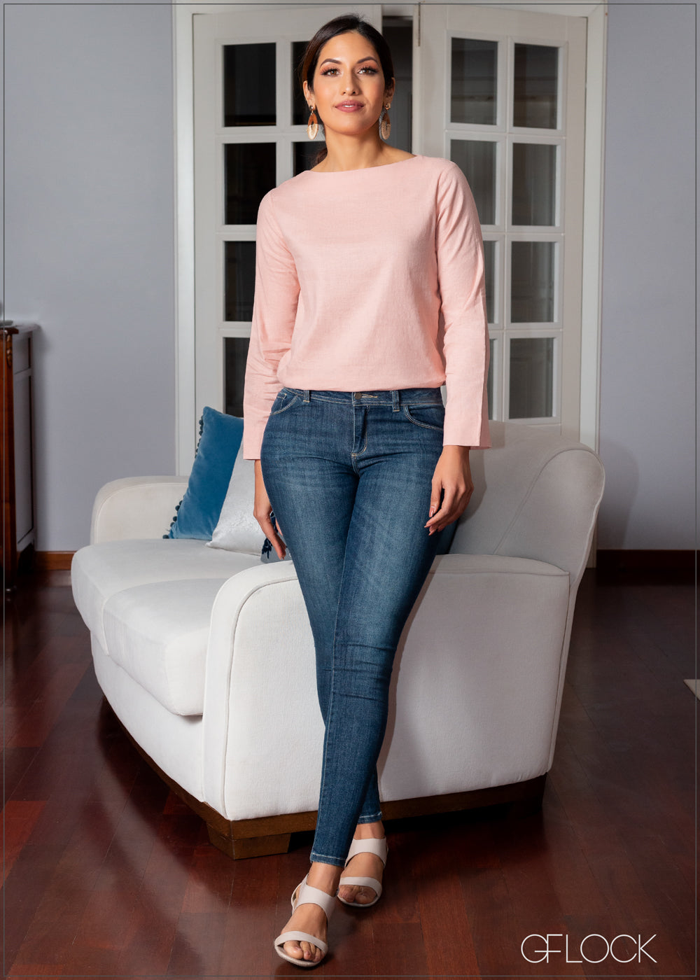 Basic Long Sleeved Linen Top - 354