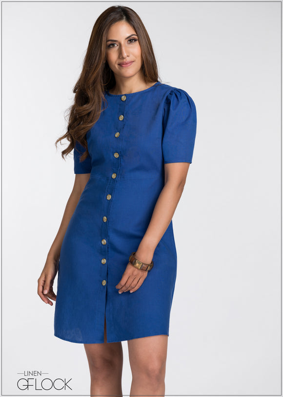 Buttoned Linen Dress