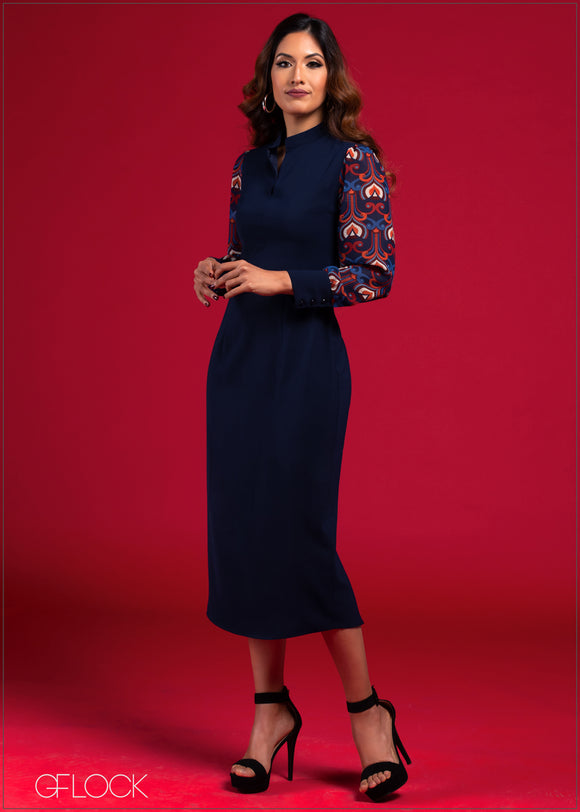 Dress with Printed Sleeves - VC2021
