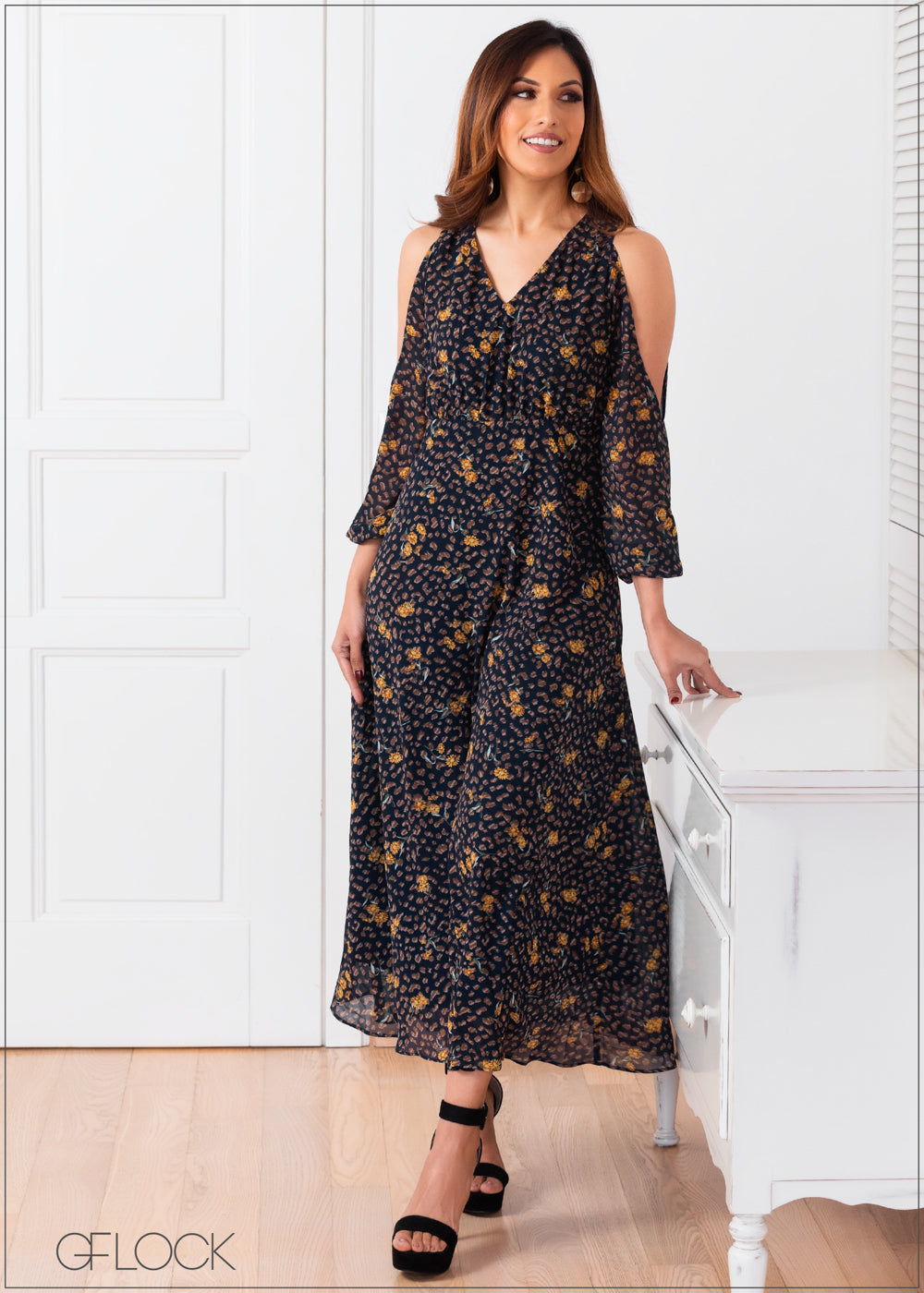 Printed Maxi Dress with Split Sleeves - 357