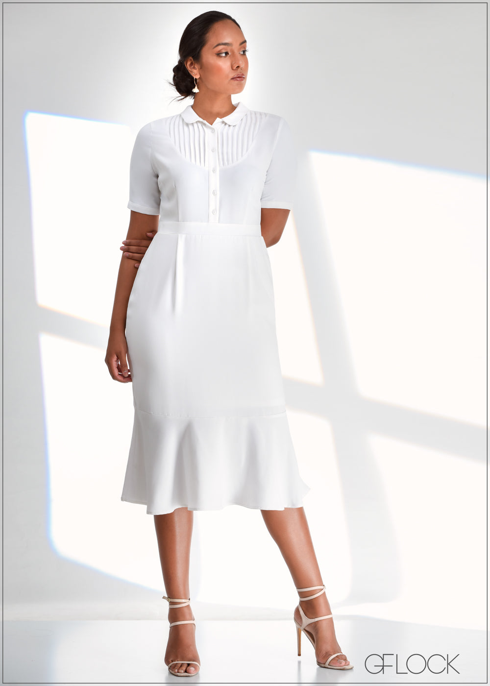 Pintuck Detailed Dress with Flared Hem - WW0219