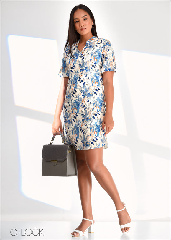Printed Dress with Mandarin Collar - WW0219