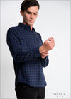 Normal Collar Checked Long Sleeve Shirt - 1021