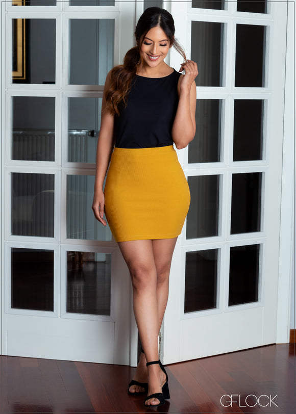 Ribbed Mini Skirt - RIB 1401