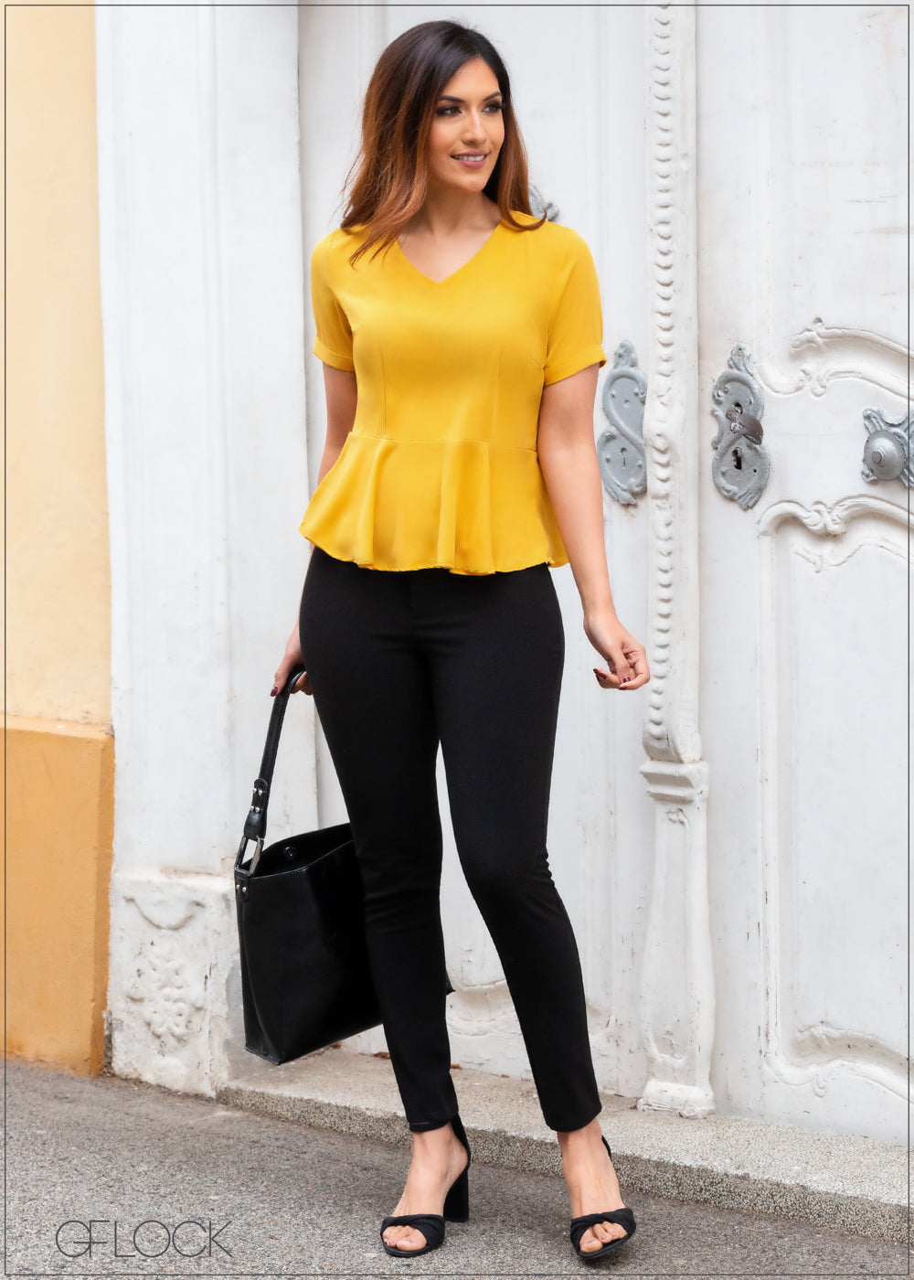 Short Sleeved Peplum Top - 357