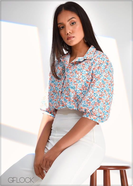 Printed Top with Puff Sleeves - WW0219