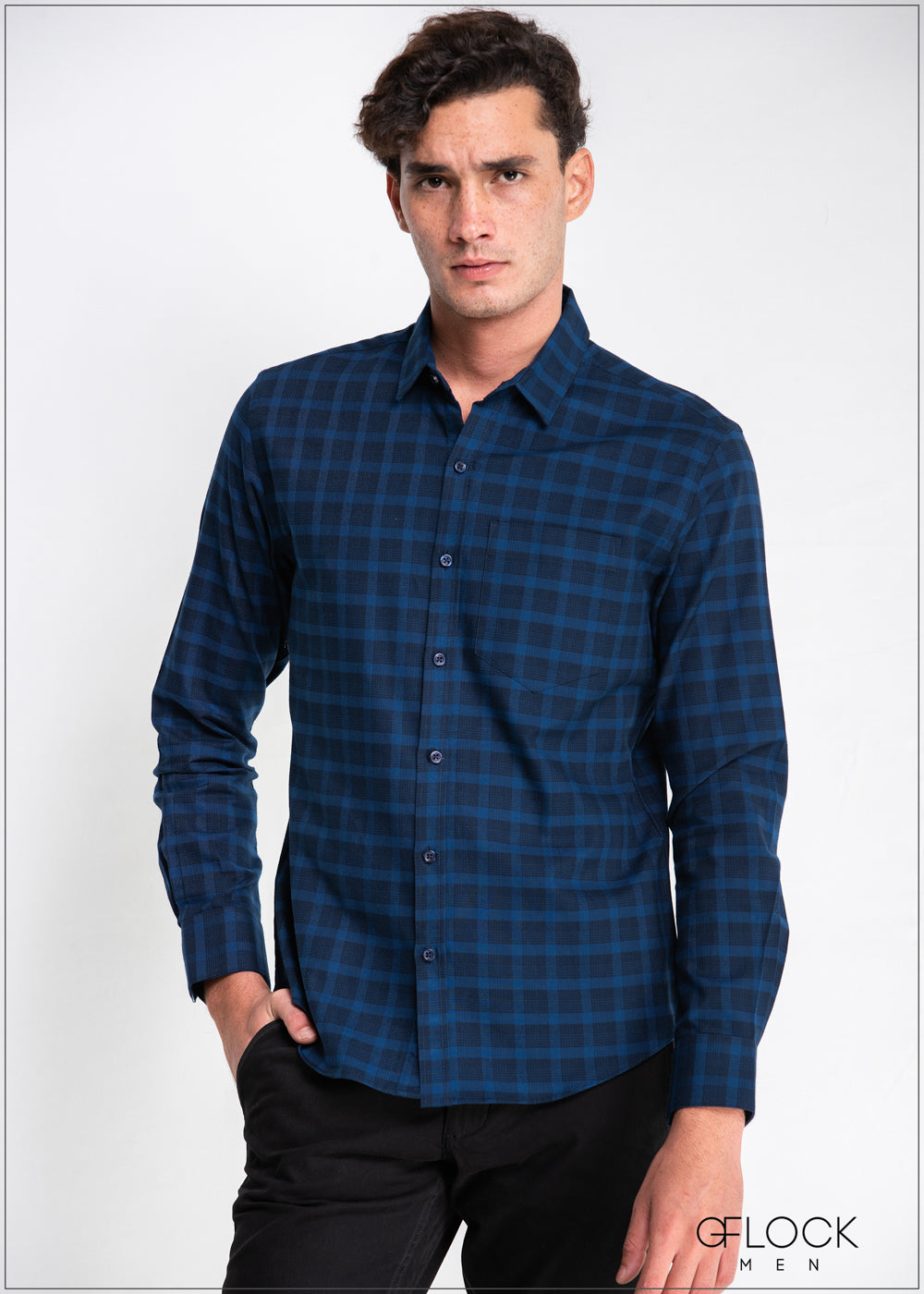 Normal Collar Checked Long Sleeve Shirt - 310