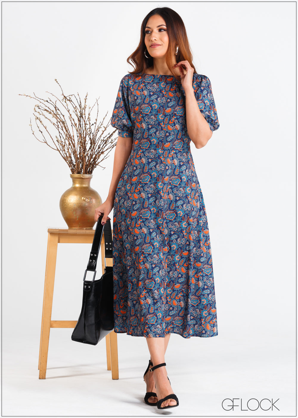 Balloon Sleeved Printed Dress - 358