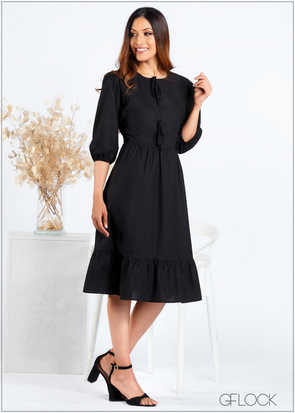 Front Tie Puff Sleeve Dress - 366