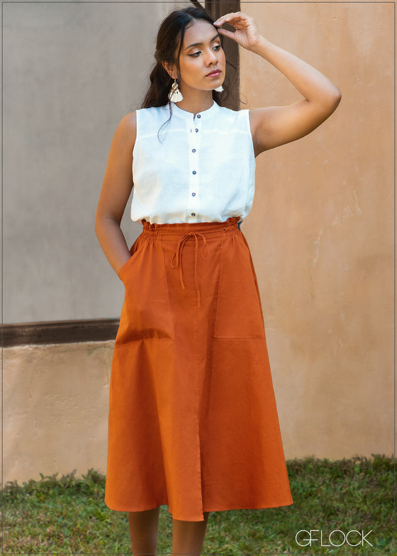Flared Skirt with Pockets - Linen 0226