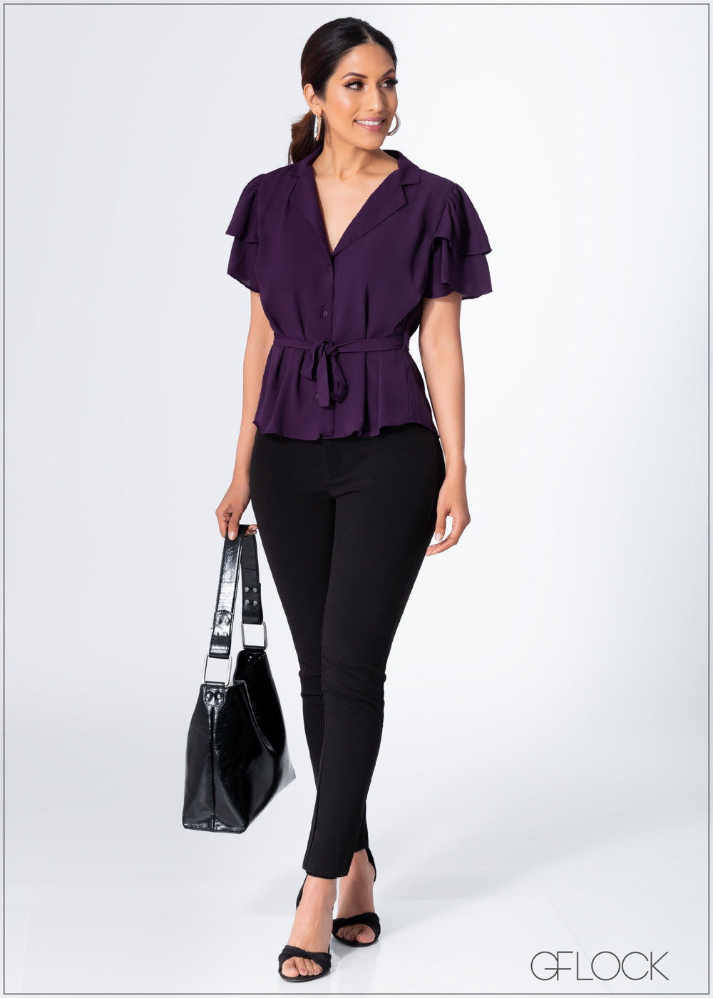 Frill Sleeve Top With Front Tie - 363