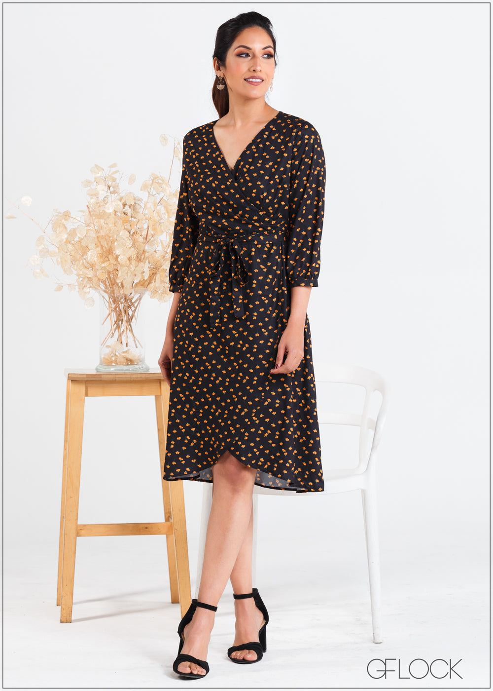 Printed Wrap Dress with Waist Tie - 358