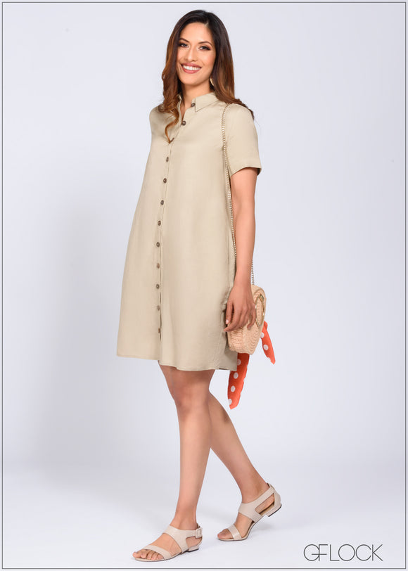 Short Linen Shift Dress - 368