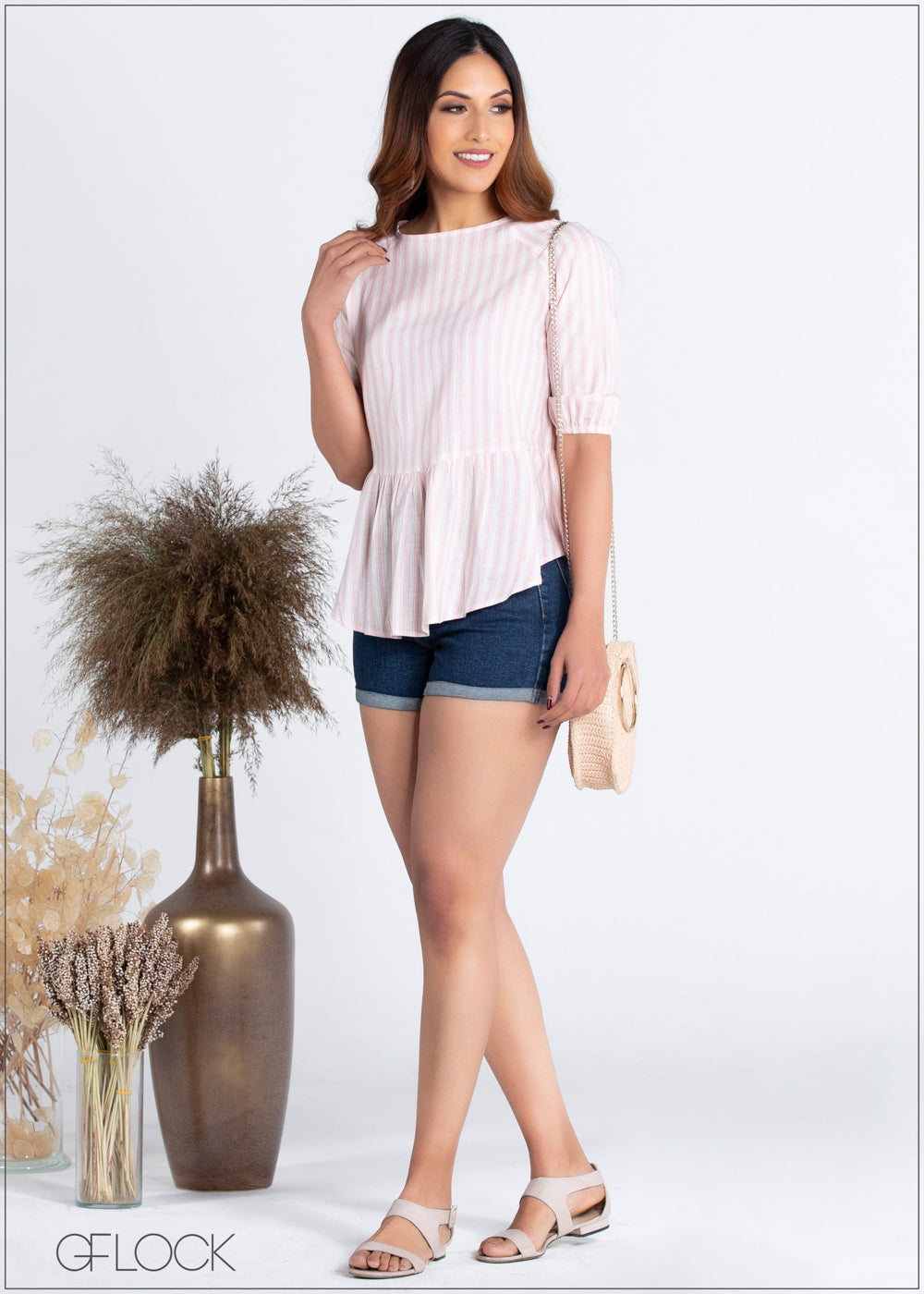 Striped Linen Peplum Top - 359
