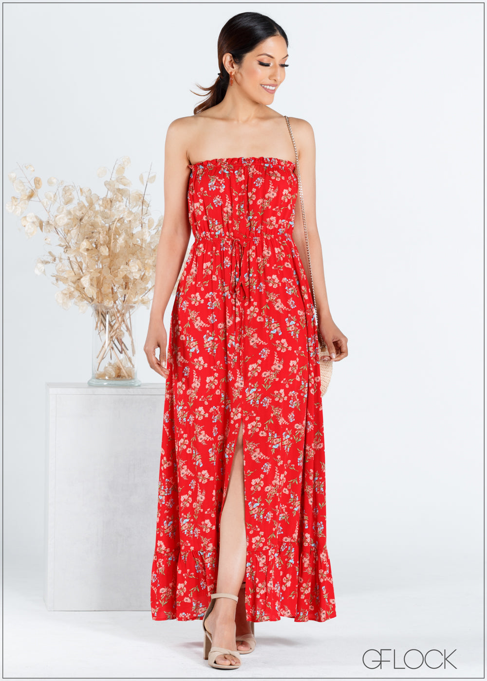 Floral Strapless Maxi Dress - CC704
