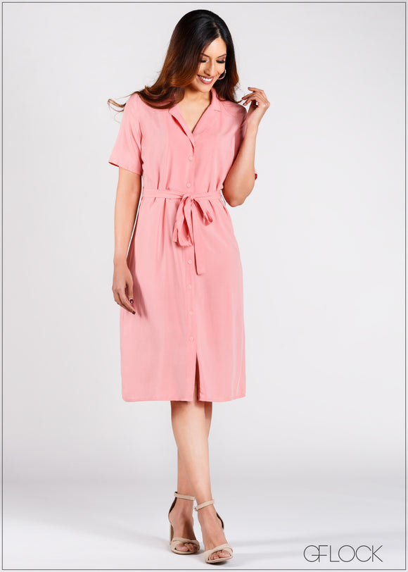 Shift Dress with Waist Tie - CAP203