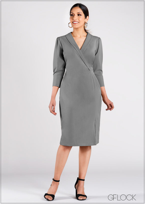 Mock Wrap Dress with Slit - CAP203